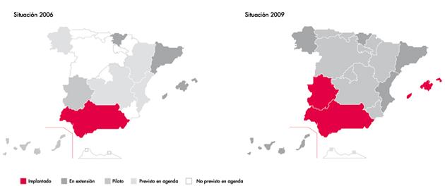 Figura 1. Evolución de la implantación del sistema de receta electrónica entre 2006 y 2009. Fuente: Observatorio Nacional de las Telecomunicaciones y de la SI