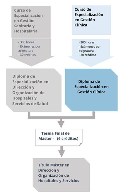 Diagrama del Diploma de Especialización en Gestión Clínica